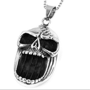 Bk Oxidized StainlessSteel Skull Pendant Necklace